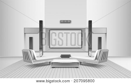 Modern home cinema interior in white tones with display and loudspeakers, couches and journal table vector illustration