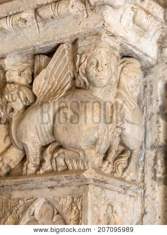 MONTMAJOUR FRANCE - JUNE 26 2017: Cloisters in the Abbey of St. Peter in Montmajour near Arles France