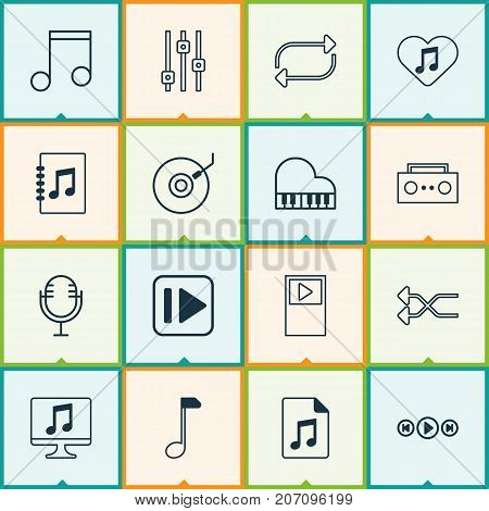 Audio Icons Set. Collection Of Stabilizer, Randomize, Note Elements