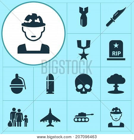 Army Icons Set. Collection Of Panzer, Rocket, Bombshell And Other Elements