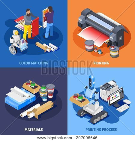 Printing house polygraphy industry isometric 2x2 design concept with images of plotter materials computer robots and workers vector illustration