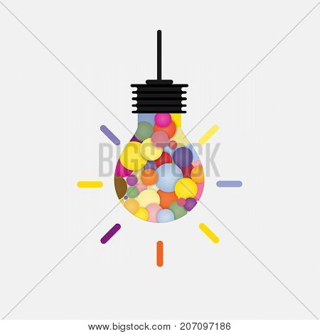Creative bulb light idea abstract vector design template.Concept of ideas inspiration, innovation, invention, effective thinking, knowledge and education.Corporate business industrial creative logotype symbol.Vector illustration