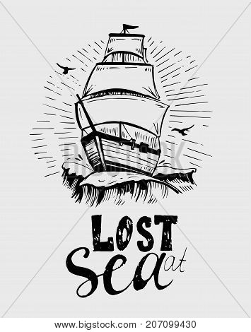 Vintage ship on waves. Hand drawn illustration converted to vector