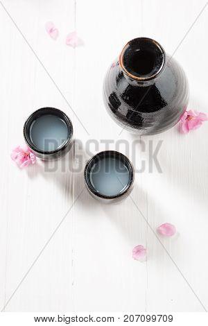 Unfiltered White Sake Sake In The Japanese Restaurant