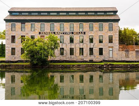 Seneca Falls NY USA -- Sept 30 2017 -- The Seneca Knitting Mills building due to re-open in 2018 as the Center for Great Women. Editorial Use Only.