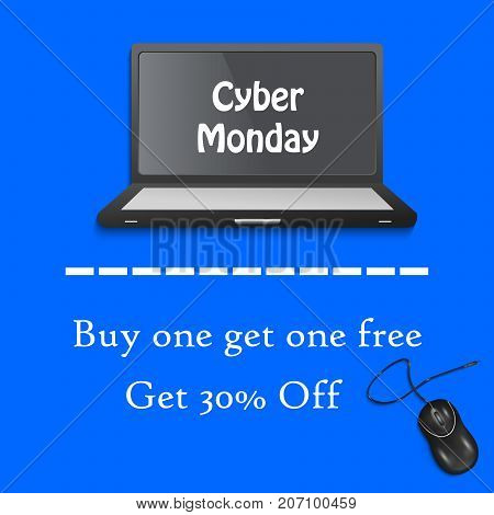 illustration of computer and mouse with Cyber Monday Buy one get one free get 30% off text on the occasion of Cyber Monday