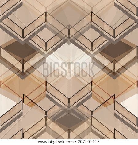 Geometric brown and white seamless abstract pattern