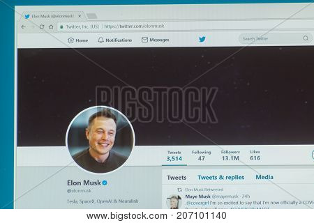 Los Angeles, september 28, 2017: Official twitter account of Elon Musk, a South African-born Canadian American business magnate