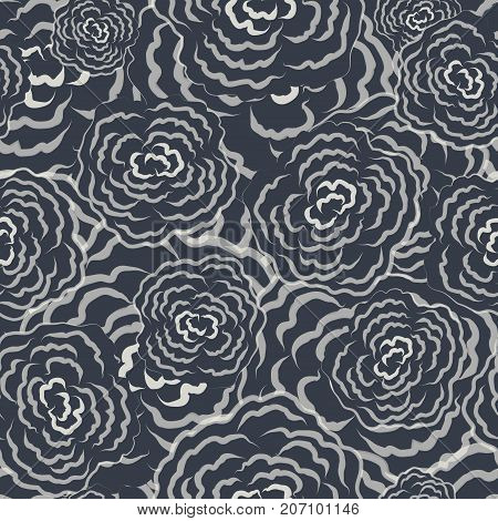Seamless floral sketch gray and white pattern