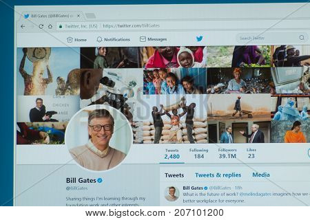 Los Angeles, september 28, 2017: Official twitter account of the richest man in the world Bill Gates