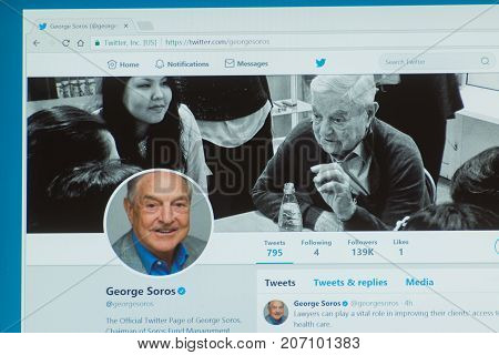 Los Angeles, september 28, 2017: Official twitter account of George Soros, a Hungarian-American investor, business magnate, philanthropist, and author.