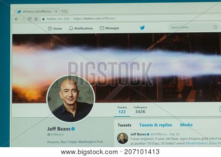 Los Angeles, september 28, 2017: Official twitter account Jeff Bezos is an American technology and retail entrepreneur, investor, computer scientist, and philanthropist, the founder of Amazon.com
