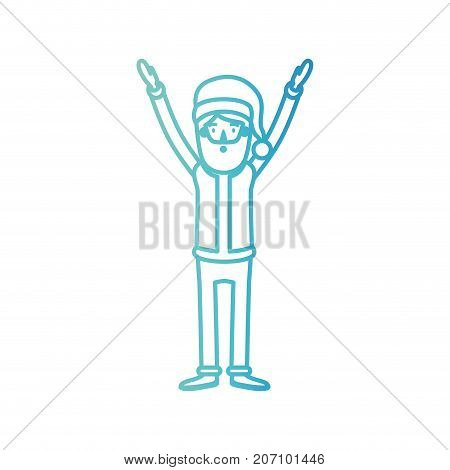 santa claus caricature full body with hands up hat and costume on gradient color silhouette from blue to purple vector illustration