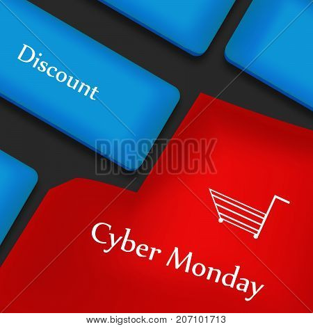 illustration of keyboard with Cyber Monday text on the occasion of Cyber Monday