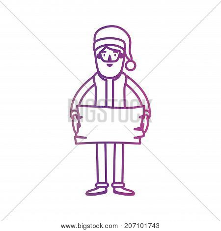 santa claus caricature full body holding a wooden piece with hat and costume on gradient color silhouette from yellow to fuchsia vector illustration