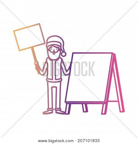 santa claus caricature full body holding a wooden poster and empty advertising with hat and costume on gradient color silhouette from yellow to fuchsia vector illustration