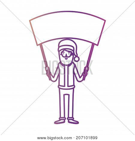 santa claus caricature full body holding a empty poster advertising with hat and costume on gradient color silhouette from yellow to fuchsia vector illustration