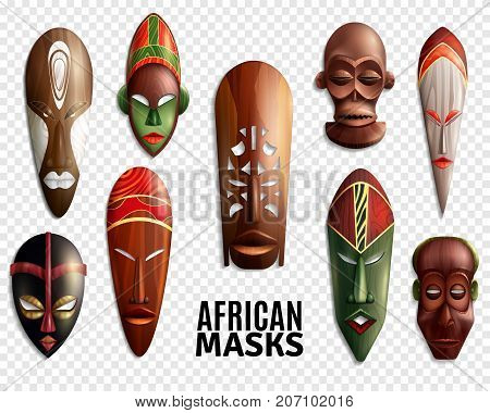 3d and realistic african masks transparent icon set for interior decoration vector illustration