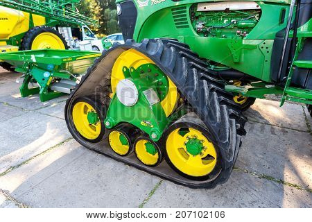 Samara Russia - September 23 2017: Rubber track of John Deere 7830 agricultural tractor on display at the annual Volga agro-industrial exhibition