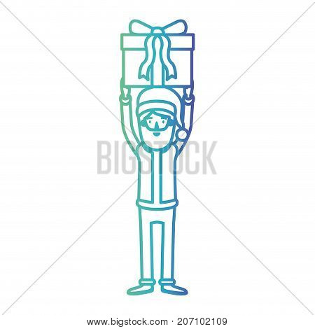 santa claus caricature full body holding up a gift with hat and costume on gradient color silhouette from blue to purple vector illustration