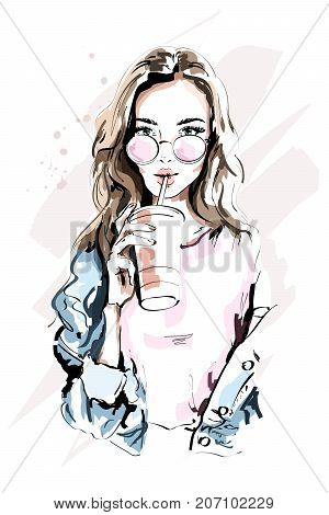 Hand drawn beautiful young woman portrait. Fashion girl with coffee cup. Stylish woman in sunglasses. Sketch.