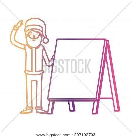 santa claus caricature full body with a placard with hat and costume on gradient color silhouette from yellow to fuchsia vector illustration