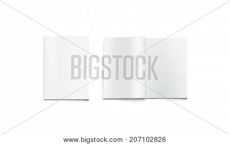 Opened and closed blank magazine mockup, isolated. White journal pages mock up lying on desk. Catalog spread and cover template. Empty notebook booklet design inside. Clear book center presentation.