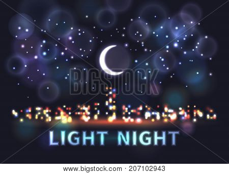 Lights of a night city against a background of a dark blue starry sky and a moon
