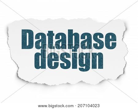 Database concept: Painted blue text Database Design on Torn Paper background with Scheme Of Binary Code