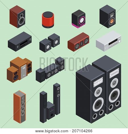 Home isometric sound system stereo flat vector 3d acoustic music loudspeakers player receiver subwoofer remote equipment technology illustration. Professional media entertainment tool.