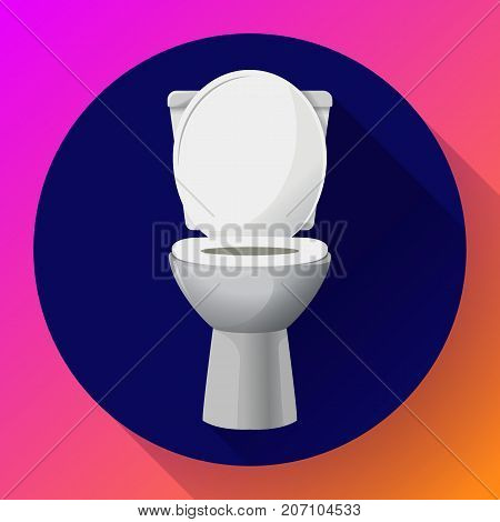 White ceramics vector toilet bowl icon. modern toilet in flat style. Vector illustration