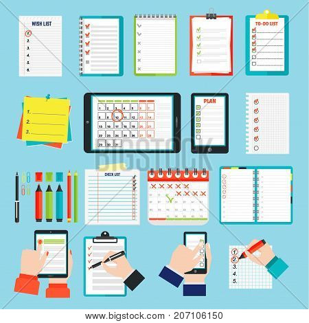 Vector notebook agenda business note. Meeting notebook plan work reminder agenda business note. Schedule calendar planner organizer agenda business note appointment concept.