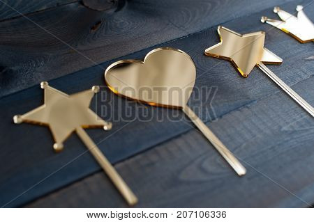 Set of gold acrylic topper for cupcakes and cakes