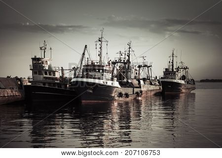 Industrial Fishing Boats Are Moored In Port
