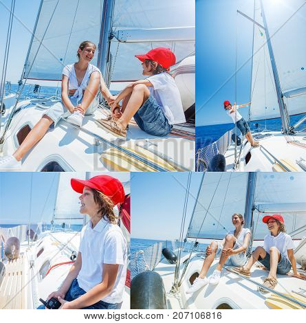 Collage of images Boy with his sister on board of sailing yacht on summer cruise. Travel adventure, yachting with child on family vacation. Kid clothing in sailor style, nautical fashion.