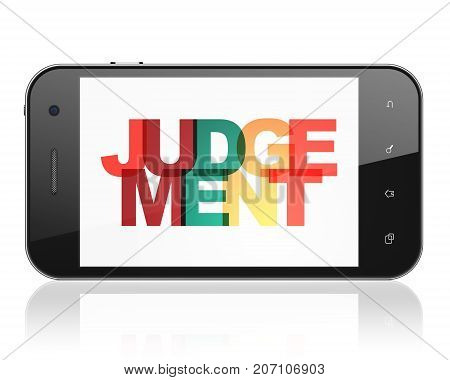 Law concept: Smartphone with Painted multicolor text Judgement on display, 3D rendering