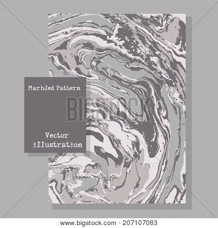 Marbled Gray Abstract Background. Liquid Marble Pattern. Vector Fluid Texture. Template Flyer Design