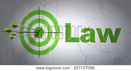Success law concept: arrows hitting the center of target, Green Law on wall background, 3D rendering