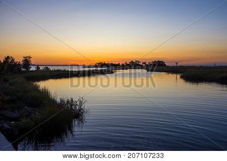 Sunset on the Sandy Hook Bay along the Jersey shore.