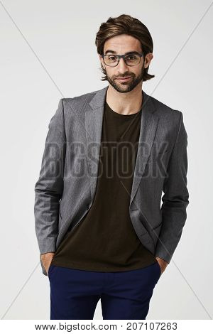 Handsome chap in glasses and suit jacket portrait