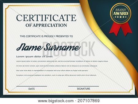 Creative certificate of appreciation award template. Certificate template design with best award symbol and blue and golden shapes and badge. Vector illustration. Eps 10.
