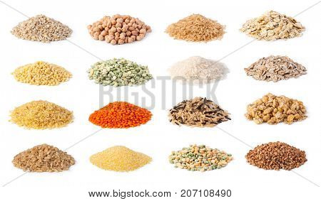 Cereals set isolated on white background
