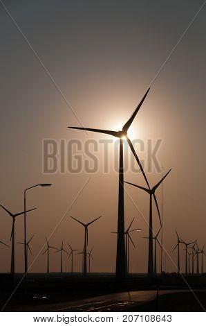 A modern wind turbine, near the Eemshaven in Northern Groningen, the Netherlands.