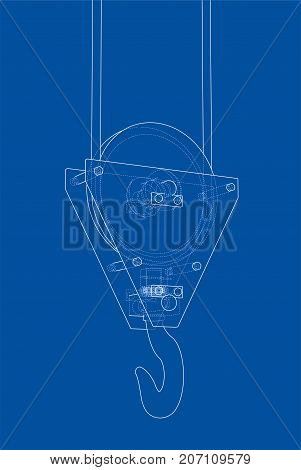 Crane hook. Vector rendering of 3d. Wire-frame style. The layers of visible and invisible lines are separated