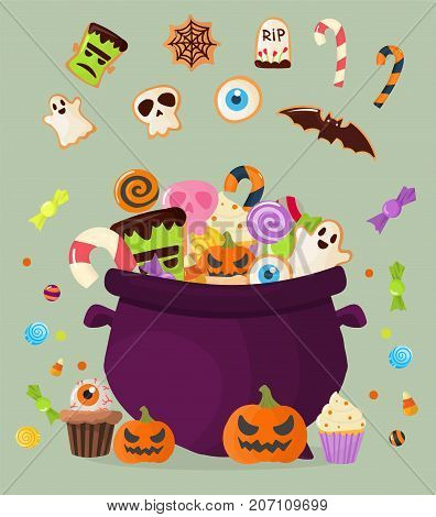 Halloween party cauldron homemade colorful sweets icons set vector illustration cupcakes lollipops jelly beans cookies cake candies caramel good for holiday design.