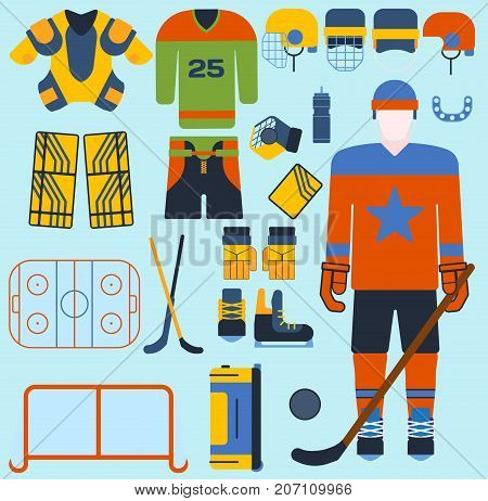 Hockey vector set icons and player isolated
