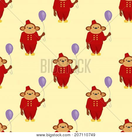 Circus monkey character bread animal wild vector cute party balloon illustration. Macaque nature primate cartoon zoo ape chimpanzee wildlife jungle animal seamless pattern background