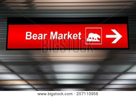 Financial concept. indicated stock market activity. Caution Sign Bear Market Ahead. Red Color
