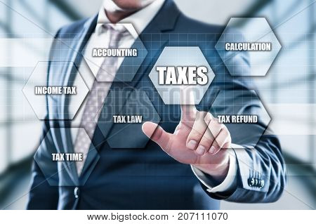 Taxes Accounting Calculation Financial Budget Business concept.