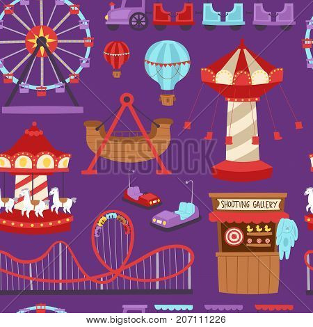 Slides and swings amusement park, ferris wheel attraction park. Carnival amusement leisure festival ride. Carousels amusement attraction side-show kids park seamless pattern background